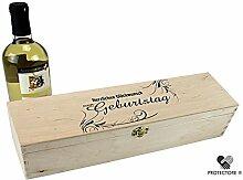 Geschenkbox - Weinkiste für 1 Flasche Wein - Herzlichen Glückwunsch zum Geburtstag - Geschenkidee - Verpackung - Holzkiste