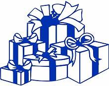 Geschenkboxen, Größe 60 cm Breite, Farbe Azurblau Geschenkbox Aufkleber, Geschenke, Fenster, Wand Aufkleber, Weihnachten, ThatVinylPlace