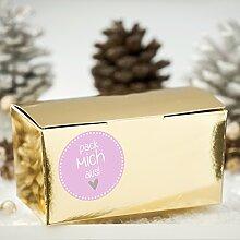 Geschenkboxen Set 'Pack mich aus' rosa 24 goldene Schachteln und 24 Aufkleber für Plätzchen, Geschenke und Süßigkeiten – Kisten mit matten Stickern