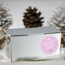 Geschenkboxen Set 'Sternenstaub' rosa 24 silberne Schachteln und 24 Aufkleber für Plätzchen, Geschenke und Süßigkeiten – Kisten mit matten Stickern