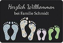 Geschenke 24 Fußmatte mit Vier Fußabdrücken in