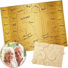 Geschenke 24: Holzmosaik - Goldene Hochzeit: