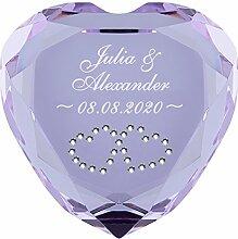 Geschenke 24 Liebesherz (Lila - Herzen in Weiß) mit Namen & Datum graviert - personalisiertes Liebesgeschenk für sie und ihn – romantischer Diamant aus Kristallglas mit Gravur