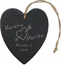 Geschenke 24: Romantisches Schieferherz Forever in Love - originelle Geschenkidee aus Schiefer für verliebte Paare - jedes Herz ein persönliches Unika