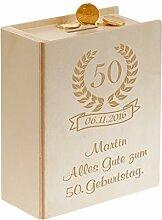 Geschenke 24: Sparbuch zum 50. Geburtstag Natur mit Wunsch-Gravur ==> für runde Geburtstage für Geld und Geldgeschenke für Männer, Frauen, Mama und Papa - Ihre Spardose mit Namen + Wünsche Gravur