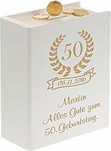 Geschenke 24: Sparbuch zum 50. Geburtstag Weiß mit Wunsch-Gravur ==> Spardose für runde Geburtstage für Geld und Geldgeschenke für Männer & Frauen