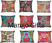 GESCHENKE Mango handgefertigt kantha Arbeit Kissenbezüge 40,6x 40,6cm Großhandel 10PCS