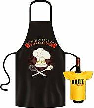Geschenke Set GoodmanDesign - lustige für Männer Grillschürze Fun Motiv STARKOCH kochen Schürze - und IT´s GRILL TIME Flaschenshirt : )