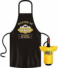 Geschenke Set GoodmanDesign - lustige für Männer Grillschürze Fun Motiv BBQ MASTER grillen Schürze - und IT´s GRILL TIME Flaschenshirt : )