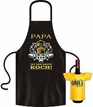 Geschenke Set GoodmanDesign - lustige für Männer Grillschürze Fun Motiv PAPA bester Koch kochen Schürze - und IT´s GRILL TIME Flaschenshirt : )