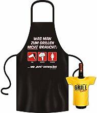 Geschenke Set GoodmanDesign - lustige für Männer Grillschürze Fun Motiv FÖN GEMÜSE FRAUEN grillen Schürze - und IT´s GRILL TIME Flaschenshirt : )