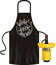 Geschenke Set GoodmanDesign - lustige für Männer Grillschürze Fun Motiv BESTER KOCH DER WELT kochen Schürze - und IT´s GRILL TIME Flaschenshirt : )
