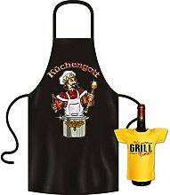 Geschenke Set GoodmanDesign - lustige für Männer Grillschürze Fun Motiv KÜCHENGOTT kochen Schürze - und IT´s GRILL TIME Flaschenshirt : )