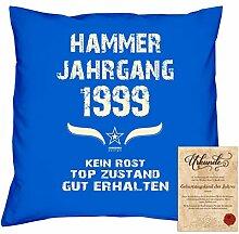 Geschenkidee 19. Geburtstag :-: Kissen Sofakissen Jahreszahl Aufdruck Hammer Jahrgang 1999 :-: Größe: 40x40cm & Geburtstags-Urkunde Farbe: royal-blau