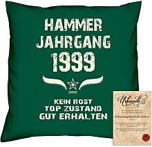 Geschenkidee 19. Geburtstag :-: Kissen Sofakissen Jahreszahl Aufdruck Hammer Jahrgang 1999 :-: Größe: 40x40cm & Geburtstags-Urkunde Farbe: dunkelgrün