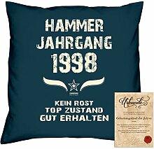 Geschenkidee 20. Geburtstag :-: Kissen Sofakissen Jahreszahl Aufdruck Hammer Jahrgang 1998 :-: Größe: 40x40cm & Geburtstags-Urkunde Farbe: navy-blau