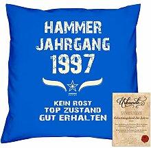Geschenkidee 21. Geburtstag :-: Kissen Sofakissen Jahreszahl Aufdruck Hammer Jahrgang 1997 :-: Größe: 40x40cm & Geburtstags-Urkunde Farbe: royal-blau