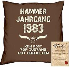Geschenkidee 35. Geburtstag :-: Kissen Sofakissen Jahreszahl Aufdruck Hammer Jahrgang 1983 :-: Größe: 40x40cm & Geburtstags-Urkunde Farbe: braun