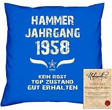 Geschenkidee 60. Geburtstag :-: Kissen Sofakissen Jahreszahl Aufdruck Hammer Jahrgang 1958 :-: Größe: 40x40cm & Geburtstags-Urkunde Farbe: royal-blau