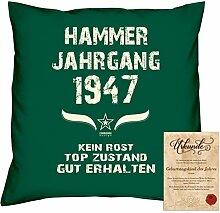Geschenkidee 71. Geburtstag :-: Kissen Sofakissen Jahreszahl Aufdruck Hammer Jahrgang 1947 :-: Größe: 40x40cm & Geburtstags-Urkunde Farbe: dunkelgrün