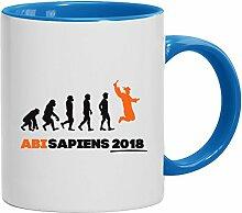 Geschenkidee Abitur Abschluss Kaffeetasse Becher Tasse 2-farbig Abi 2018 - Abisapiens, Größe: onesize,weiß/hellblau