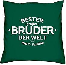 Geschenkidee Bruder Bester großer Bruder der Welt :-: Weihnachtsgeschenk :-: Kissen mit Füllung als Geburtstagsgeschenk Farbe:dunkelgrün