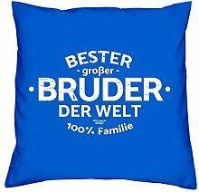 Geschenkidee Bruder Bester großer Bruder der Welt Valentinstagsgeschenk Kissen mit Füllung Farbe:royal-blau