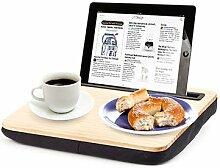 Geschenkidee.de Knie-Tablett mit Gravur | personalisierbares Tablett mit Kissen aus feinem Holz für das Tablet oder den Laptop | Schoßtablett für den perfekten Relaxday und Homeoffice iBed 2.0