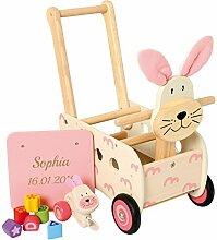 Geschenkidee.de Lauflernwagen Hase mit Gravur