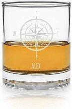 Geschenkidee.de Whisky-Glas - Kompass - mit Namen