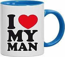 Geschenkidee Ehemann Vatertags- Valentinstags Kaffeetasse 2-farbige Tasse I LOVE MY MAN, Größe: onesize,weiß/hellblau
