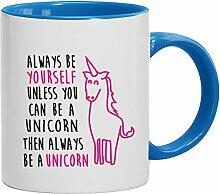 Geschenkidee Einhorn Kaffeetasse 2-farbige Tasse Always Be A Unicorn, Größe: onesize,weiß/hellblau