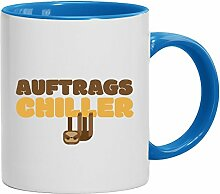 Geschenkidee Faultier Büro Bürohumor Kaffeetasse 2-farbige Tasse Auftrags-Chiller, Größe: onesize,weiß/hellblau