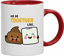 Geschenkidee Freund Freundin Valentinstags Kaffeetasse 2-farbige Tasse Love Shit Paper, Größe: onesize,weiß/ro