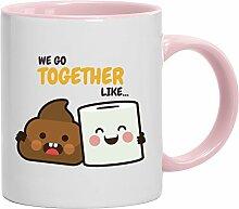 Geschenkidee Freund Freundin Valentinstags Kaffeetasse 2-farbige Tasse Love Shit Paper, Größe: onesize,weiß/rosa