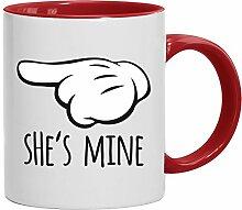 Geschenkidee Freund Freundin Valentinstags Kaffeetasse 2-farbige Tasse Valentinstag - She's Mine, Größe: onesize,weiß/ro