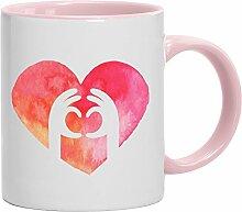 Geschenkidee Freund Freundin Valentinstags Kaffeetasse 2-farbige Tasse Love Herz Hände, Größe: onesize,weiß/rosa