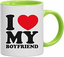 Geschenkidee Freund Valentinstags Kaffeetasse 2-farbige Tasse I LOVE MY BOYFRIEND, Größe: onesize,weiß/hellgrün