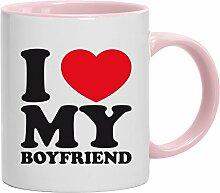 Geschenkidee Freund Valentinstags Kaffeetasse 2-farbige Tasse I LOVE MY BOYFRIEND, Größe: onesize,weiß/rosa