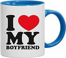 Geschenkidee Freund Valentinstags Kaffeetasse 2-farbige Tasse I LOVE MY BOYFRIEND, Größe: onesize,weiß/hellblau