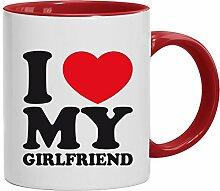Geschenkidee Freundin Valentinstags Kaffeetasse 2-farbige Tasse I LOVE MY GIRLFRIEND, Größe: onesize,weiß/ro