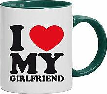 Geschenkidee Freundin Valentinstags Kaffeetasse 2-farbige Tasse I LOVE MY GIRLFRIEND, Größe: onesize,weiß/grün