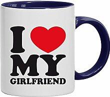Geschenkidee Freundin Valentinstags Kaffeetasse 2-farbige Tasse I LOVE MY GIRLFRIEND, Größe: onesize,weiß/blau