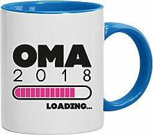 Geschenkidee Geburt Großmutter Muttertags Kaffeetasse 2-farbige Tasse Oma 2018 Loading, Größe: onesize,weiß/hellblau