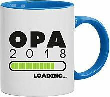 Geschenkidee Geburt Großvater Vatertags Kaffeetasse 2-farbige Tasse Opa 2018 Loading, Größe: onesize,weiß/hellblau