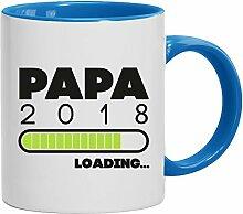 Geschenkidee Geburt Vatertags Kaffeetasse 2-farbige Tasse Papa 2018 Loading, Größe: onesize,weiß/hellblau