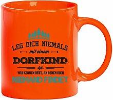 Geschenkidee Geburtstag Kaffeetasse Kaffeebecher mit Dorfkind - wir kennen Orte Motiv, Größe: onesize,orange