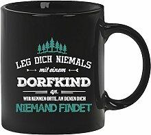 Geschenkidee Geburtstag Kaffeetasse Kaffeebecher mit Dorfkind - wir kennen Orte Motiv, Größe: onesize,Schwarz