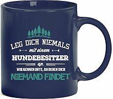 Geschenkidee Geburtstag Kaffeetasse Kaffeebecher mit Hundebesitzer - wir kennen Orte Motiv, Größe: onesize,blau