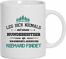 Geschenkidee Geburtstag Kaffeetasse Kaffeebecher mit Hundebesitzer - wir kennen Orte Motiv, Größe: onesize,Weiß